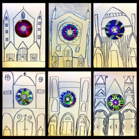 5th Grade - Gothic Architecture Love the combination of the colorful radial symmetry rose windows and the b/w drawn and shaded gothic cathedrals