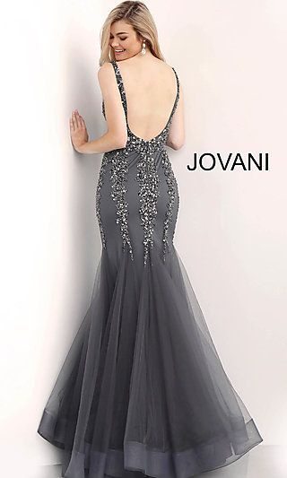 268d3fee Long Beaded V-Neck Mermaid Designer Prom Dress | prom dress all the ...