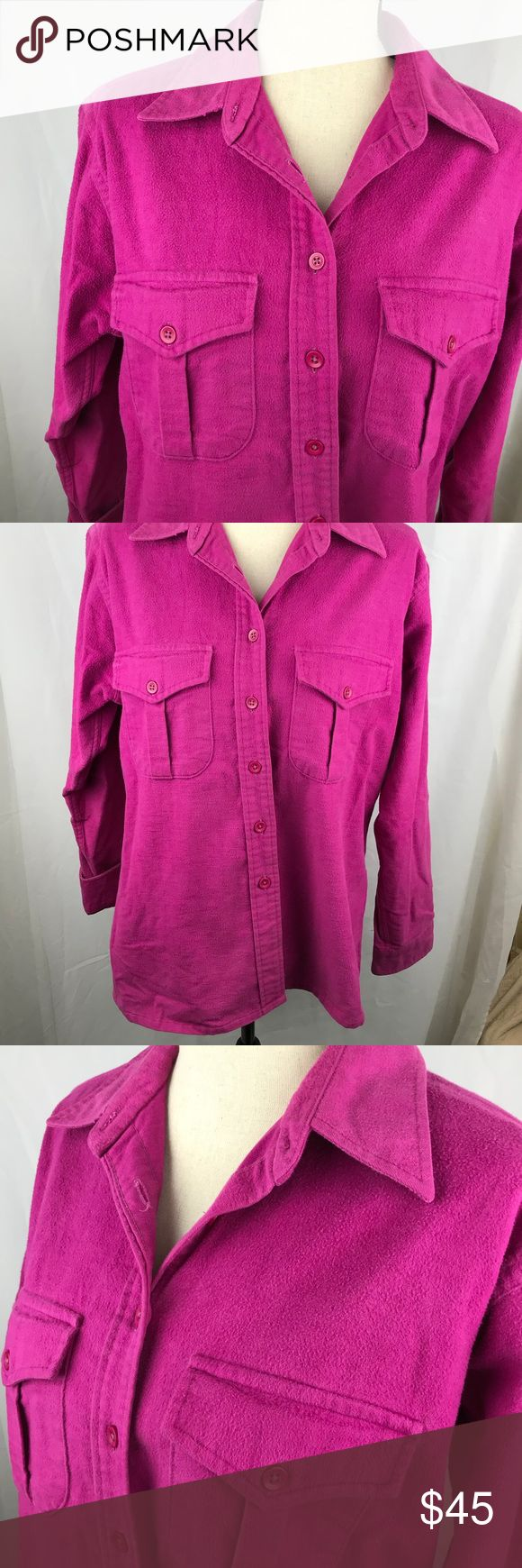 L.L. Bean Chamois Shirt 18 XL 1X Pink Button Down LL Bean Button Down chamois Shirt Blouse Top very good soft gently pre owned condition. 100% Cotton Womens 18 bright pink L.L. Bean Tops Blouses