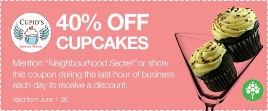 40% off Cupcakes @cupidsbakery during the last hour of business #HappyHour #Nutfree #Oakville #ShopLocal