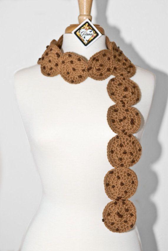 Chocolate Chip Cookie Crochet Scarf Food Scarf by Gitanaflipflops
