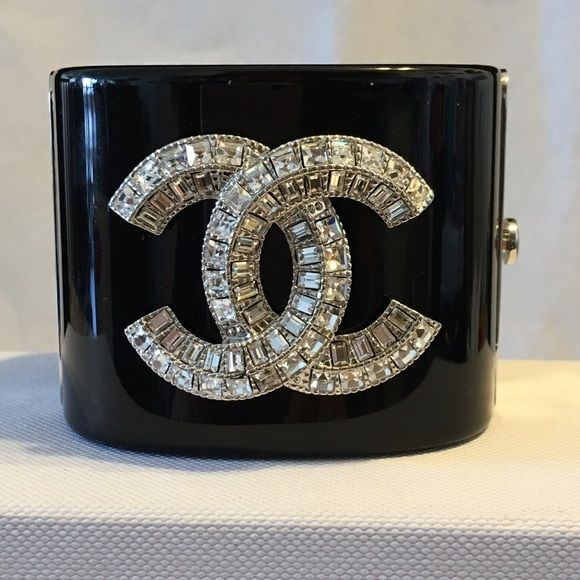 Chanel Cuff Bracelet Gorgeous With Cc Stamped On Closure And High Quality Color Black Sparkling Crystals A