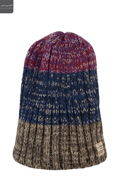 Mens Stripe Cable Knit Beanie | Winter Accessories