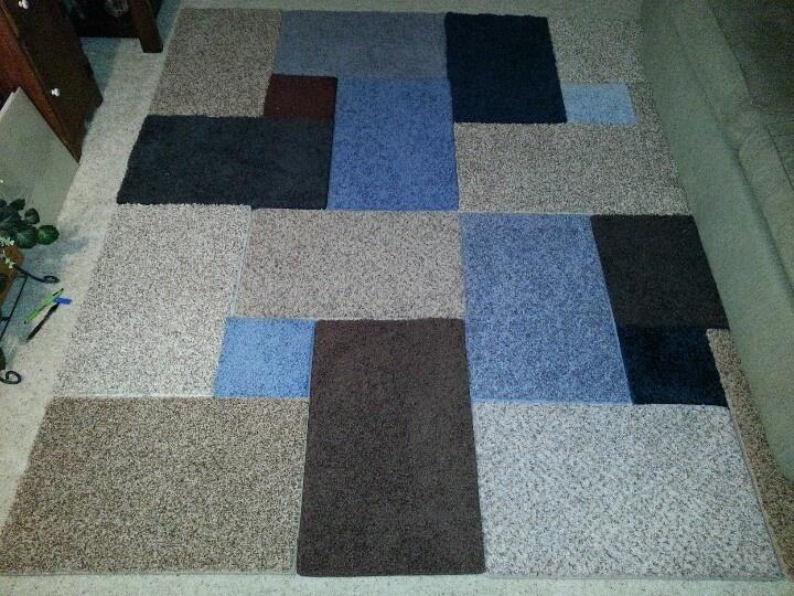 Carpet Sample Area Rug... Used Gorilla Tape To Secure Them.