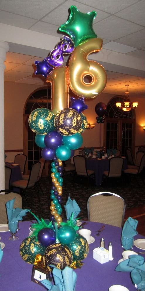 Mardi gras sweet 16 centerpiece sweet 16 decorations for Balloon decoration ideas for sweet 16