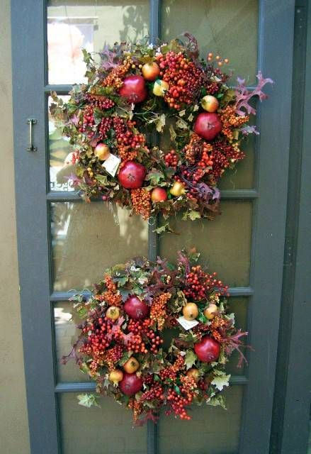 cool fall wreaths: Holiday, Craft, Decorating Ideas, Wreath Idea, Front Doors, Fall Decorating, Fall Wreaths, Double Wreaths