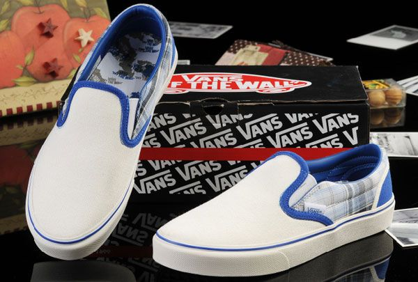 Vans White Blue New York Map Classic Slip-On Checkerboard Canvas Skate Shoes Outlet [13060107] - $39.99 : Vans Shop, Vans Shop in California