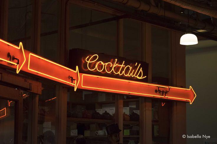 #cocktails #thisway #seattle #washington #wa #colour #pikeplacemarket #saturated #cursive #text #type #font #neon #sign #alcohol #photography #nikon #travel #dslr #market #arrows #follow