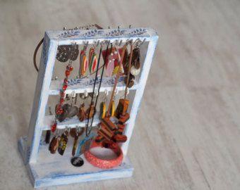Sieraden Display oorbellen Display, sieraden Decor Display, sieraden organisator cadeau, witte sieraden opslag, houten sieraden houder