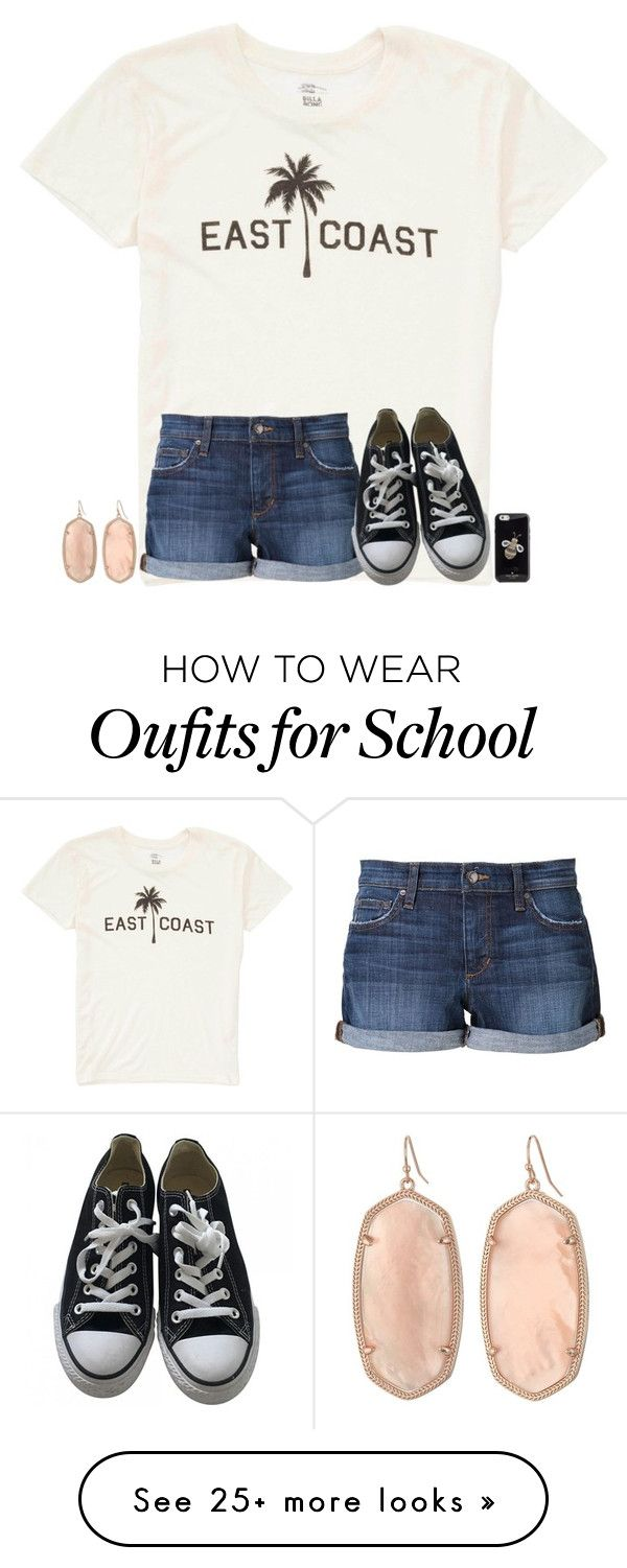 """3 1/2 days left if school! tomorrow I have off though!❤️"" by texasgirlfashion on Polyvore featuring Billabong, Joe's Jeans, Converse, Kendra Scott and Kate Spade"