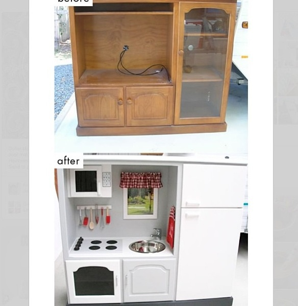 Turn an old tv cabinet into a kids toy kitchen