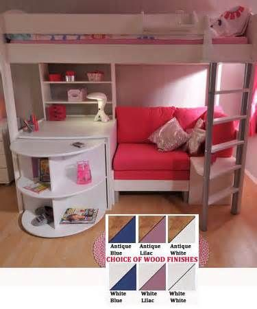 white loft bed with desk and storage and seating area
