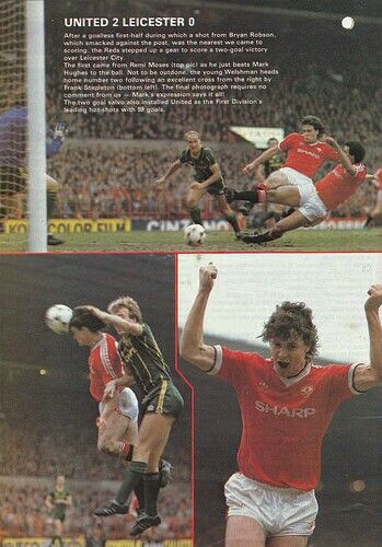 Man Utd 2 Leicester City 0 in March 1984 at Old Trafford. Action from the game…