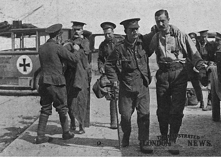 Wounded British soldiers at Le Havre, France, await their turn to board ship back to Folkestone