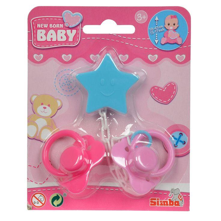 Geef je babypop een speentje om haar lekker in slaap te laten vallen. In deze set vind je 2 roze New Born Baby speentjes. Inclusief wit speenkoord met blauwe clip in de vorm van een ster. De speentjes en het speenkoord zijn gemaakt van stevig kunststof en geschikt voor poppenbaby's van 38-43 cm. - New Born Baby Speentjes