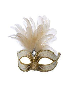 Venezianische Maske mit großer Feder, Weiß/Gold: Amazon.de: Spielzeug
