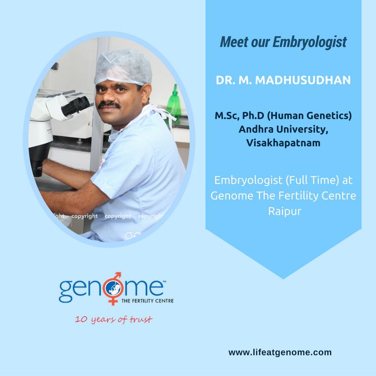 Today let us introduce you to Dr. M. Madhusudhan (M.Sc, Ph.D in Human Genetics). He is a full time #Embryologist at Genome – The Fertility Centre, #Raipur. He has 5 Years hands on experience with all ART techniques like IUI, IVF, ICSI, VITRIFICATION, THAWING. He has worked with various #IVF centres in #India.