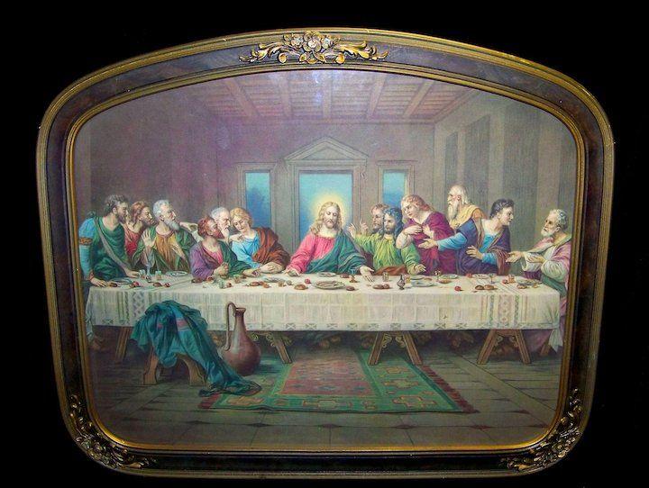 Vintage The Last Supper Leonardo De Vinci print circa 1950s.