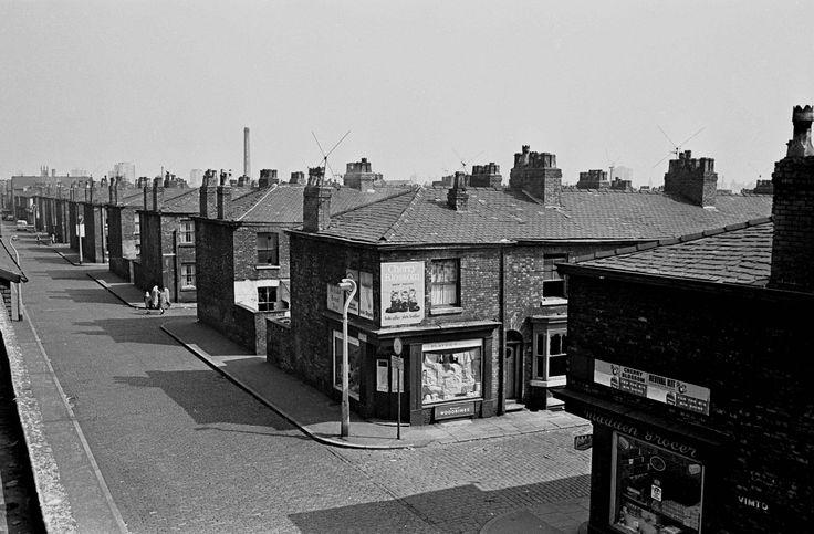 Street scene and corner shops Salford 1970