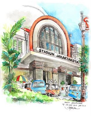 jatmika sketch & drawing: stasiun Jakarta Kota