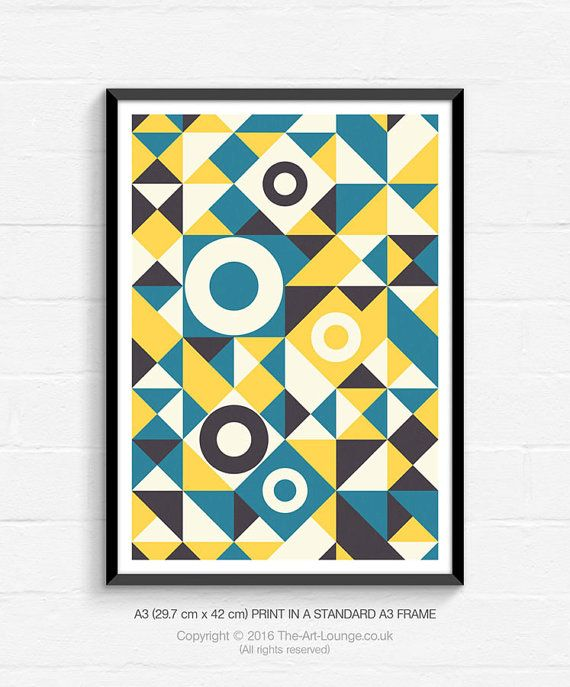 geometric art mid century modern abstract yellow and blue wall print contemporary home decor large canvas nz gray