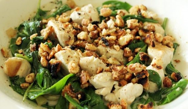 Coconut Chicken - chicken breast, baby spinach, large onion, coconut milk, coconut oil, almonds, salt and pepper to taste - Strict Candida Diet