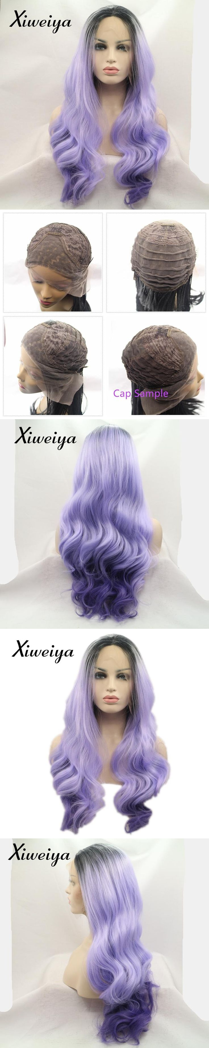 Xiweiya Heat resistant Synthetic lace front wig purple dark root white women nature wave hair replace wig glueless drag queen