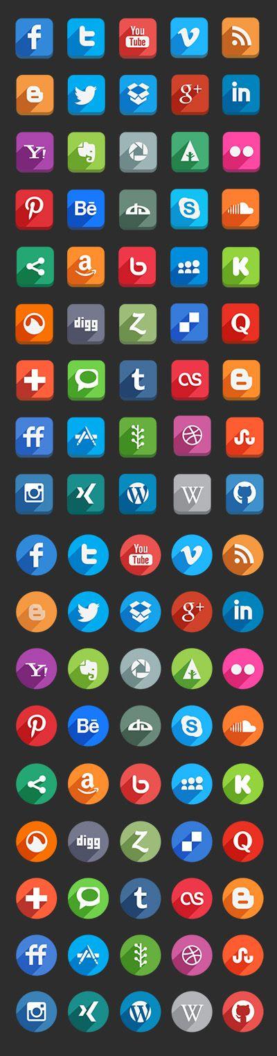 45 Long Shadow Social Media Icons (Free Psd) by Hakan Ertan
