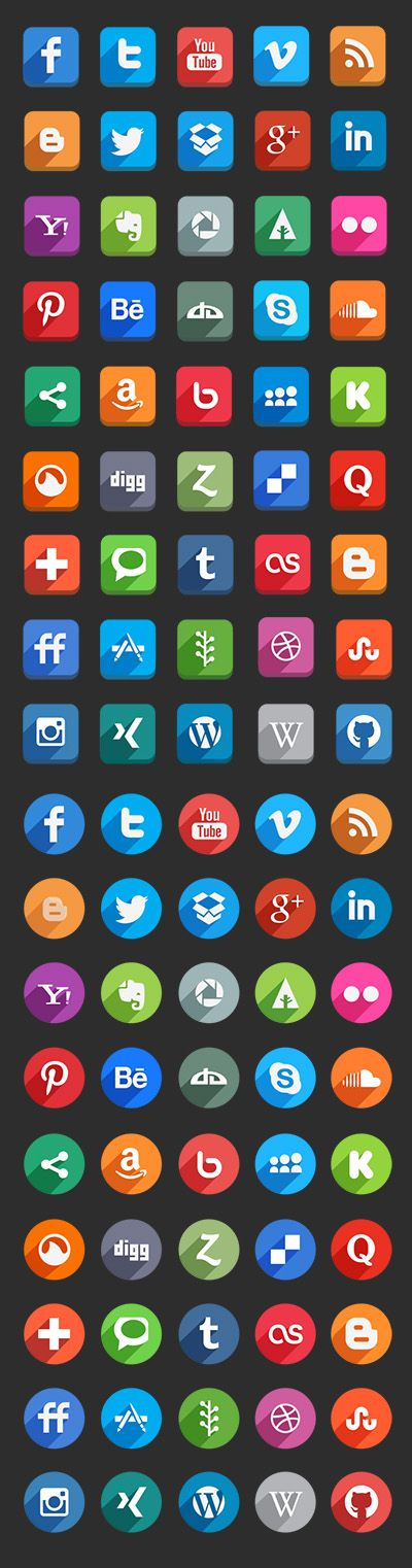 45 Long Shadow Social Media Icons (Free Psd) by Hakan Ertan