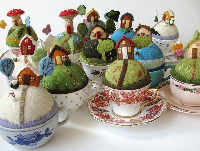So cute! Tiny world pincushions by Mimi K