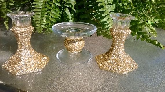 we could make this cheap Unity candle holders gold glitter candle holder by 1DesignCrafts, $25.00