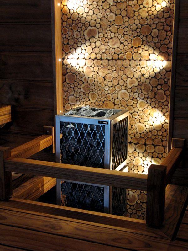 juniper panels in sauna, love this!