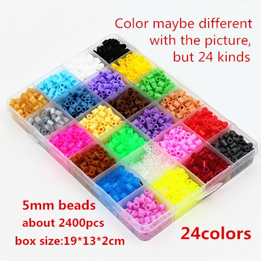 5mm 24 colour hama perler beads 2400pcs boxed set EVA kids children DIY handmaking fuse bead Intelligence Educational Toys Craft