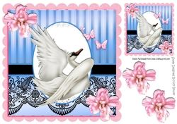 with grace beautiful swan with pink flowers   black lace 8x8 on Craftsuprint - View Now!