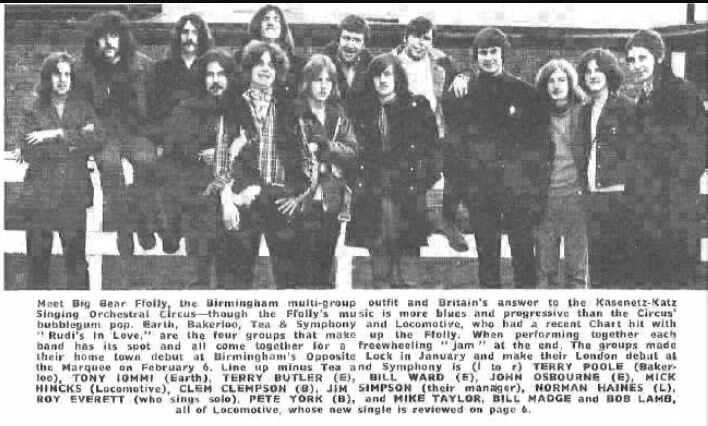 Tony Iommi,  Terry Geezer Butler, Ozzy Osbourne and Bill Ward as members of Earth - pre Black Sabbath band, with their first manager Jim Simpson and other Birmingham based bands.