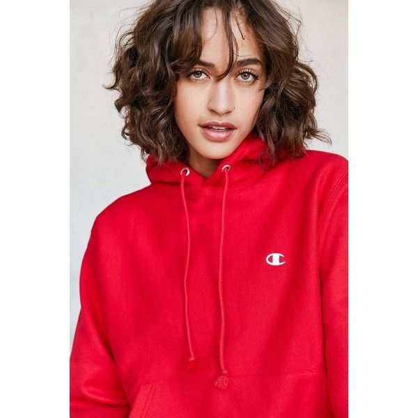 Champion + UO Reverse Weave Hoodie Sweatshirt (89 AUD) ❤ liked on Polyvore featuring tops, hoodies, hooded sweatshirt, sweatshirt hoodies, sleeve hoodie, red top and red hoodies