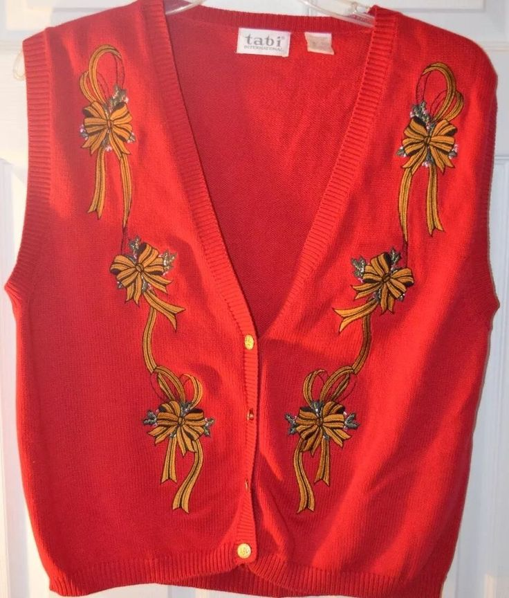 Red Bows Holly Ugly Christmas Sweater Vest Holiday XL  | eBay
