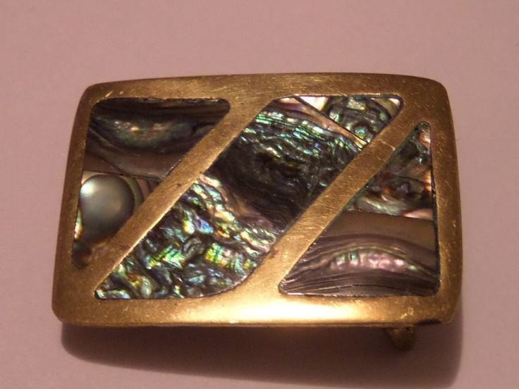 VINTAGE SMALL ABALONE MEXICAN BELT BUCKLE BEAUTIFUL