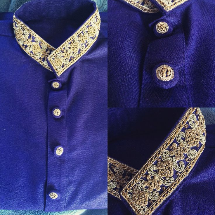Men's kurta !! Pure silk Royal blue with embellished collars and hand worked buttons