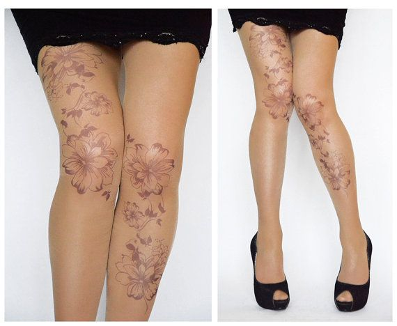 Tattoo Tights With Flowers Print Handprinted  by colinedesign, $22.90