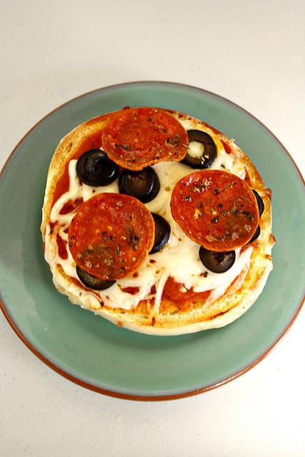 Bagel Pizza-   bagel + ingredients + microwave/oven .easy dinner Kirah and Julian love these!
