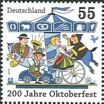 German 55c postage stamp celebrating Oktoberfest from 2010