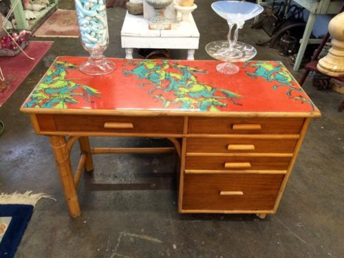 Bamboo Italian Mid Century Desk By Pasadena Furniture Company $385 Country  Garden Antiques 147 Parkhouse Dallas
