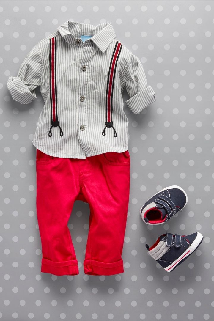 Baby fashion | Baby sets | Suspender graphic striped woven top | Pants | Hi-top sneakers | The Children's Place