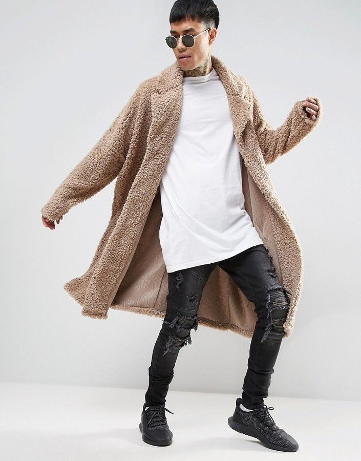 ASOS Extreme Oversized Borg Duster Coat In Beige Klick to see the Price #men #fashion #male #style #menfashion #menwear #menstyle #clothes #boots #man #ad