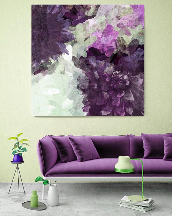 Floral Branch 5450. Rustic Purple Floral Canvas Art Print