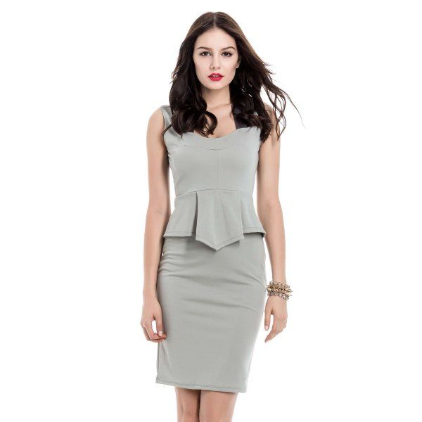 Stylish Square Neck Color Matching Sleeveless Women's Peplum Dress #women, #men, #hats, #watches, #belts, #fashion, #style