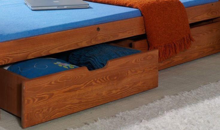 Lit enfant en bois massif avec 2 tiroirs de rangement pas cher. Dimension : 90 x 200 cm. Finition : Aulne. Livré avec sommier.