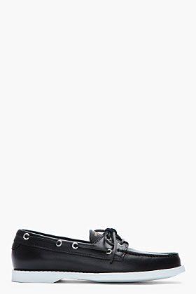 Saint Laurent Black Buffed Leather Lace Up Deck Shoes for men | SSENSE