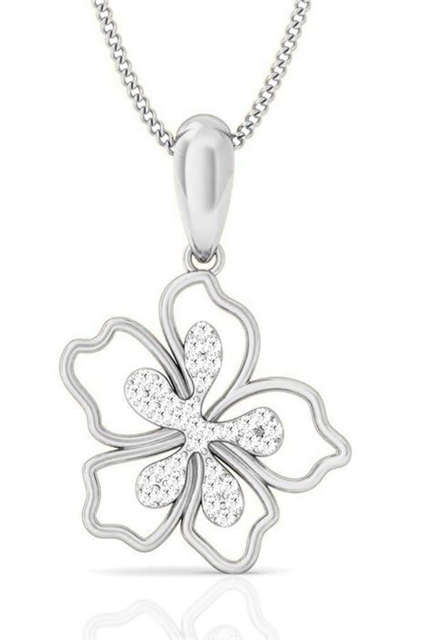 Find platinum collection of diamond pendents at jacknjewel. This floral white gold pendent is gem for  jewelry box.